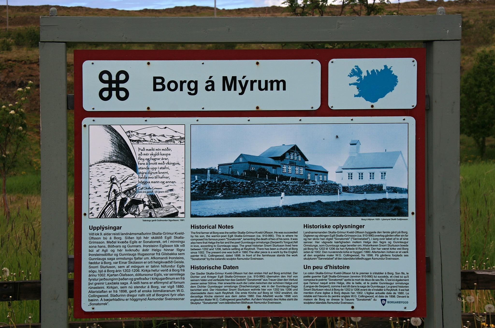 Informační tabule Borg á Mýrum.