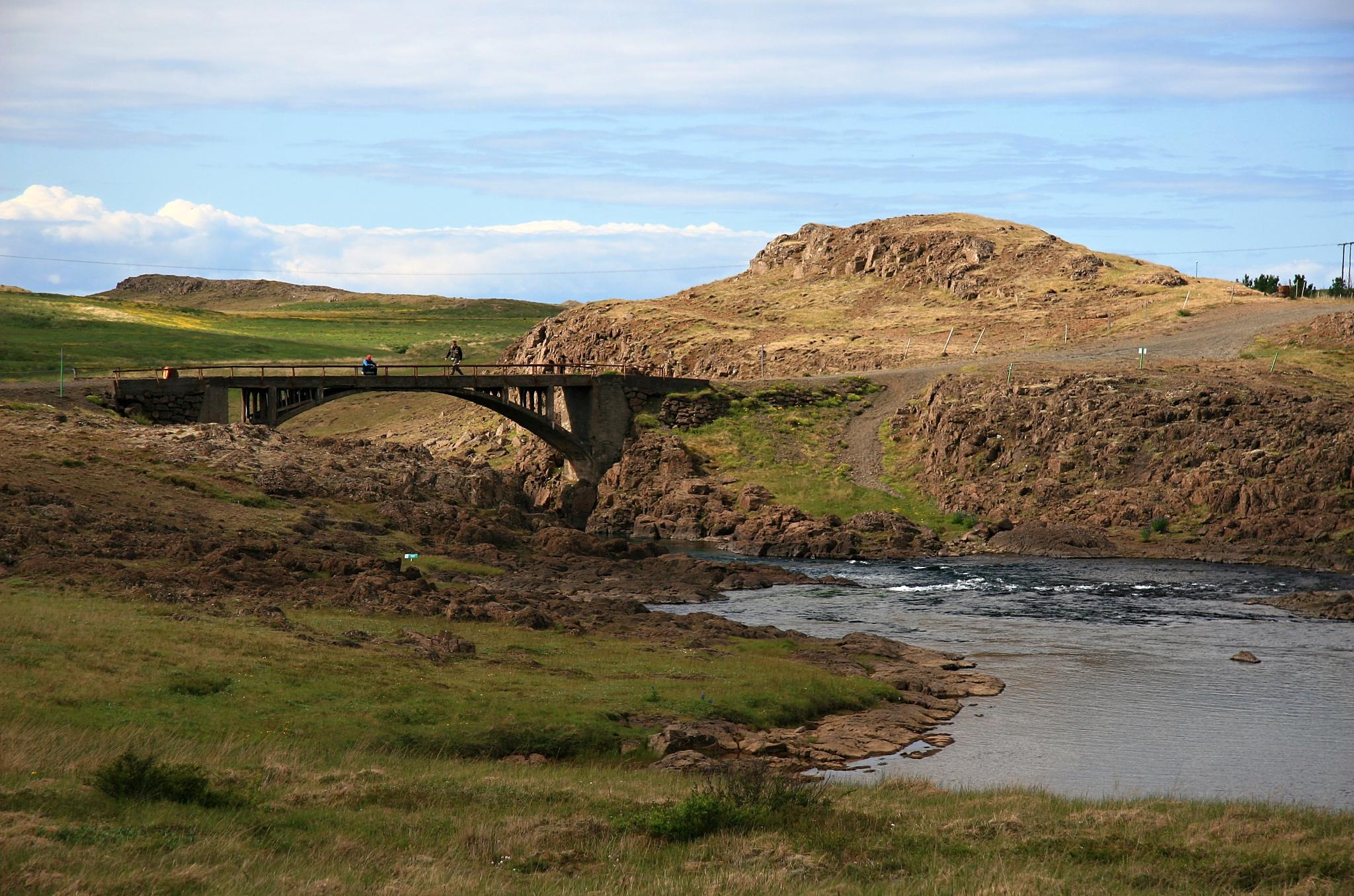 Mostek přes řeku u vodopádu Skuggafoss.