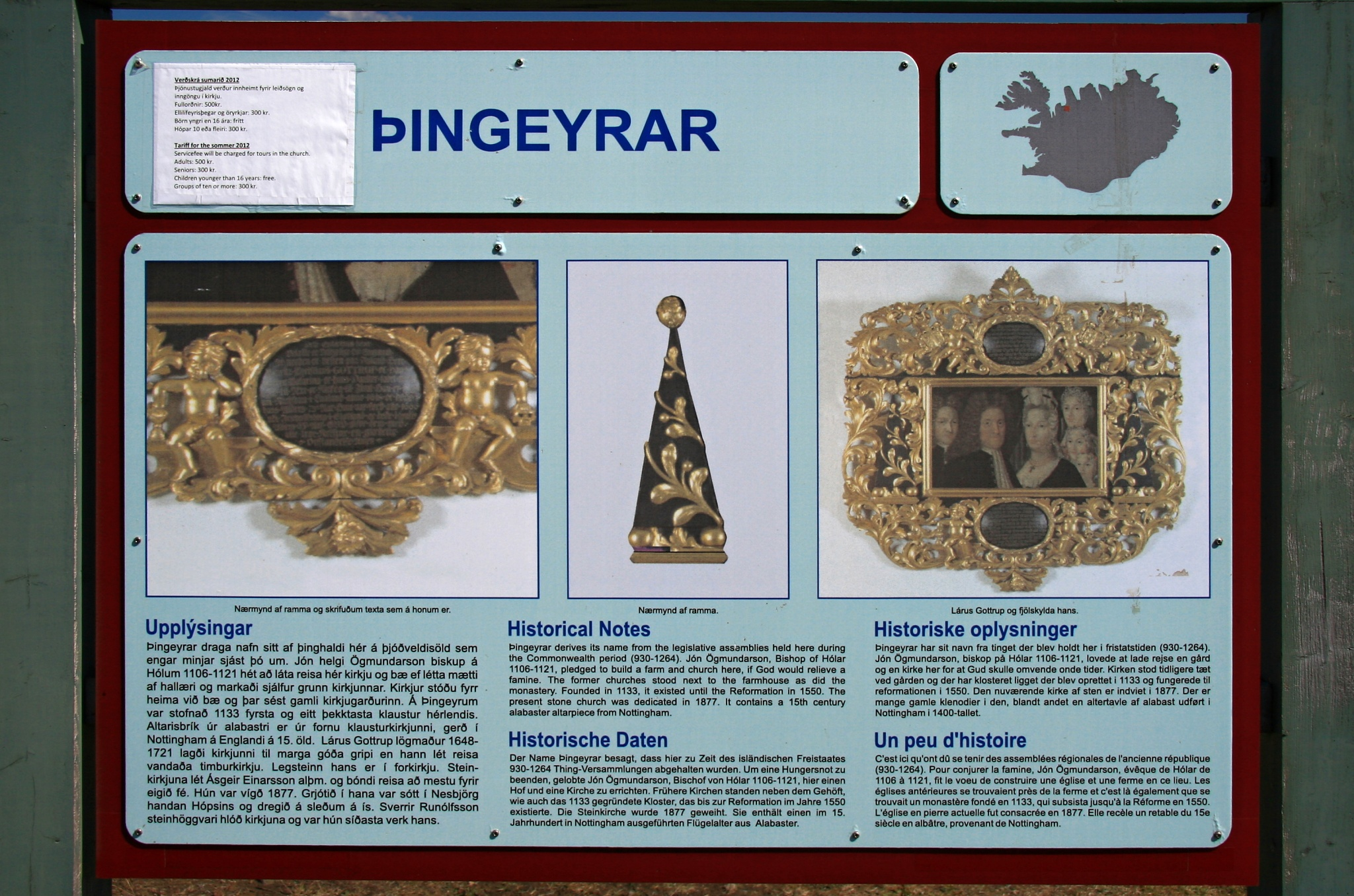 Informační cedule Þingeyrar