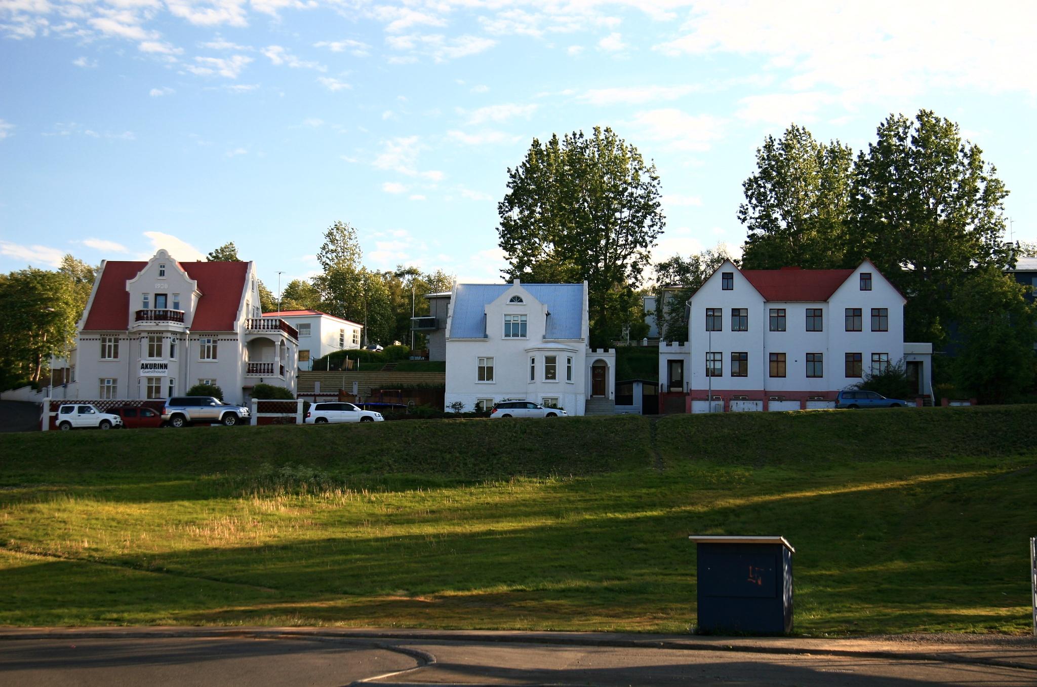 Typická islandská architektura v Akureyri