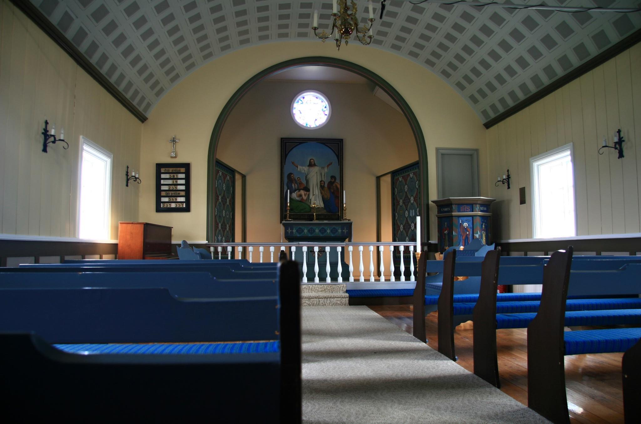 Interiér kostela Grenjaðarstaðakirkja
