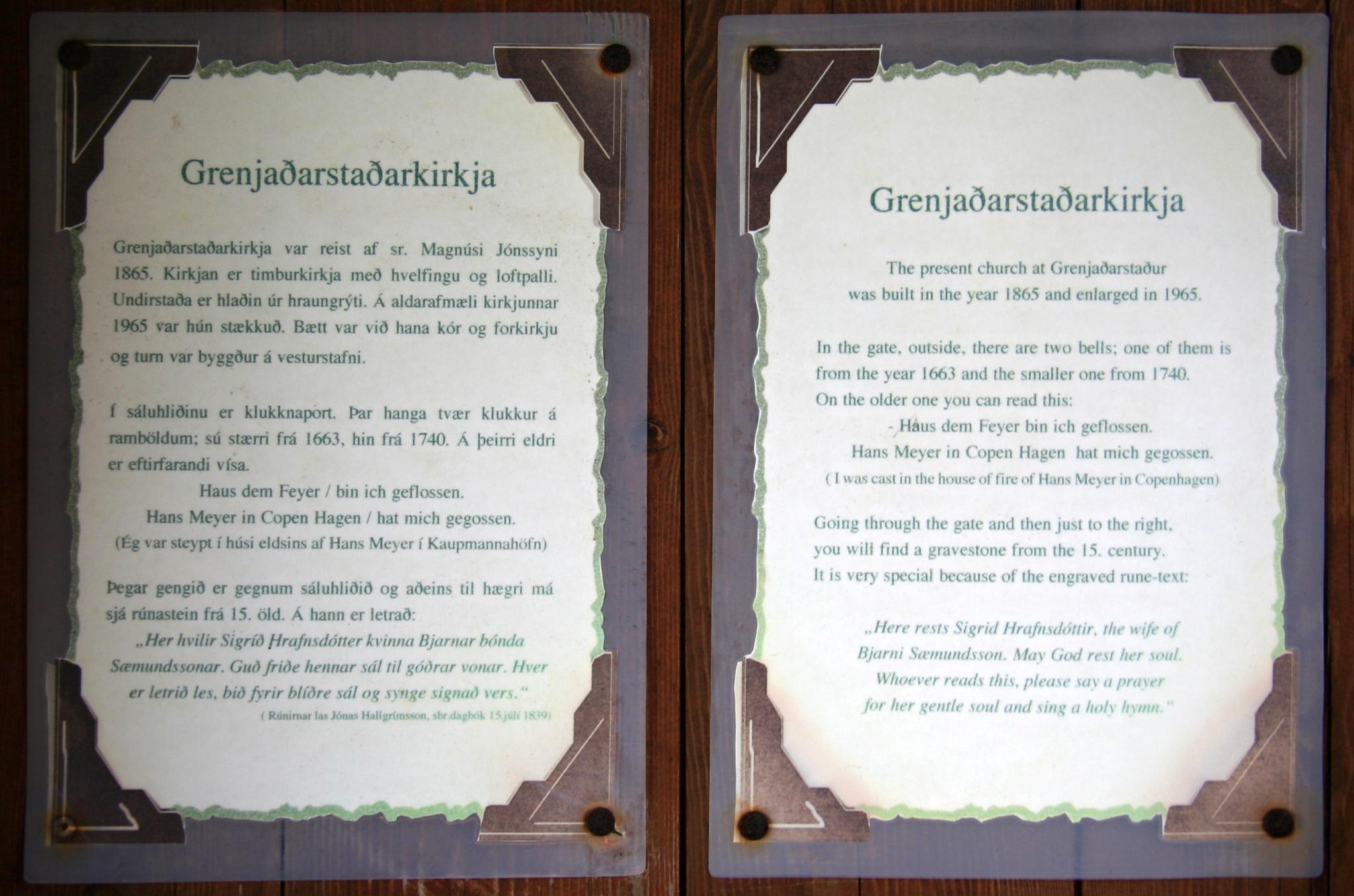 Informace o kostelu Grenjaðarstaðakirkja z 19. století