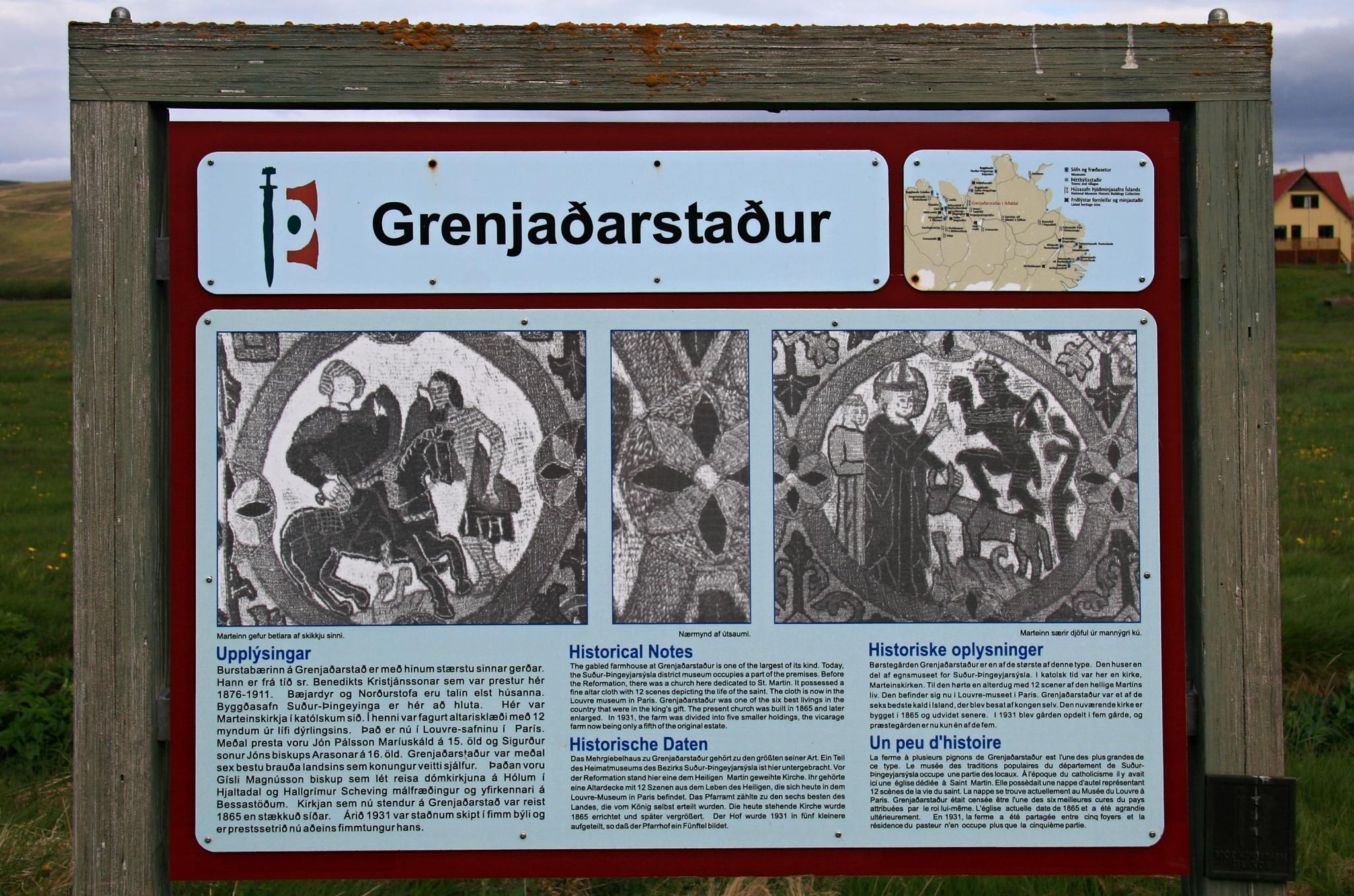 Informační tabule v Granjaðarstaðuru
