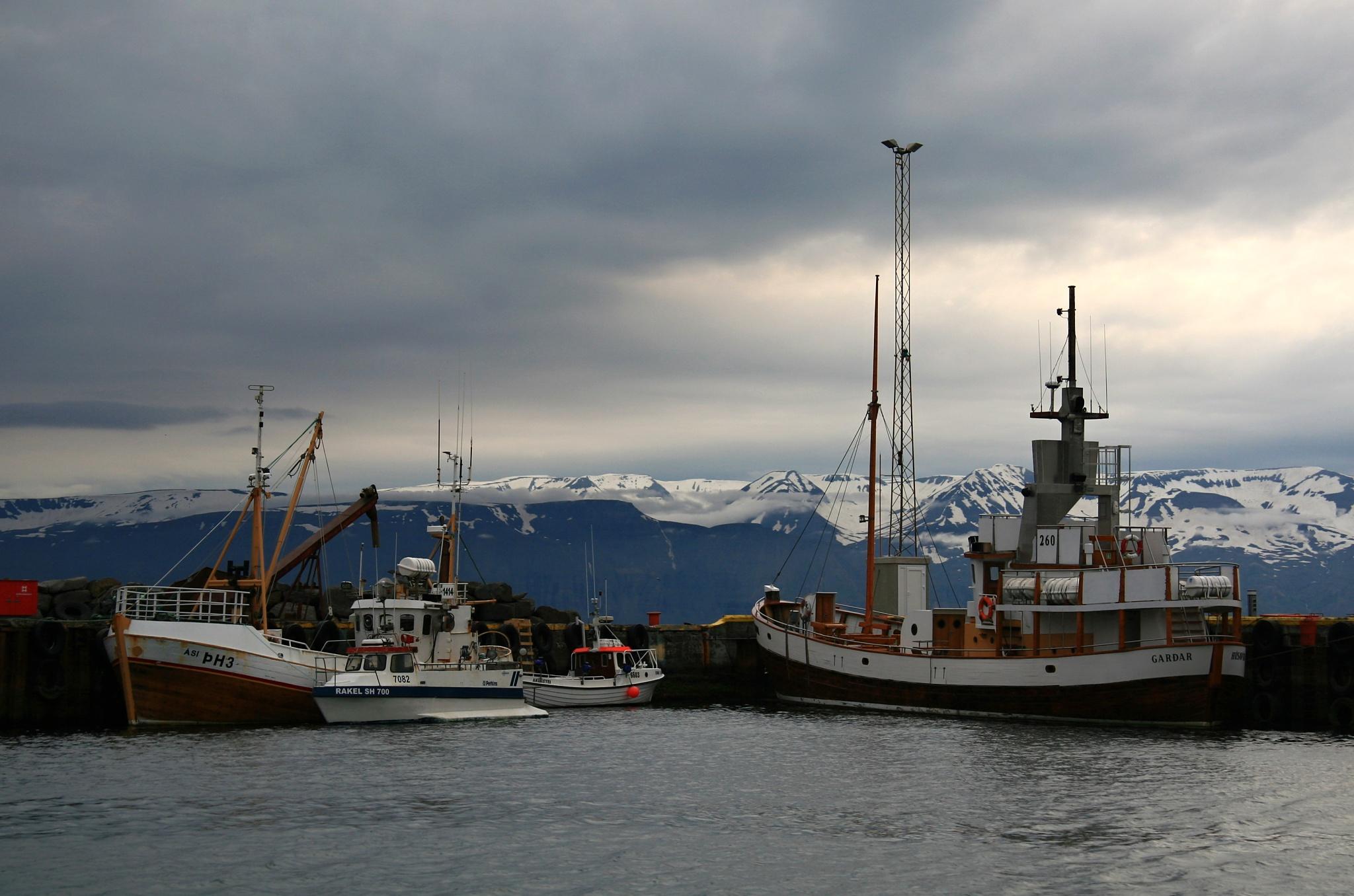 Lodě v přístavu Húsavík