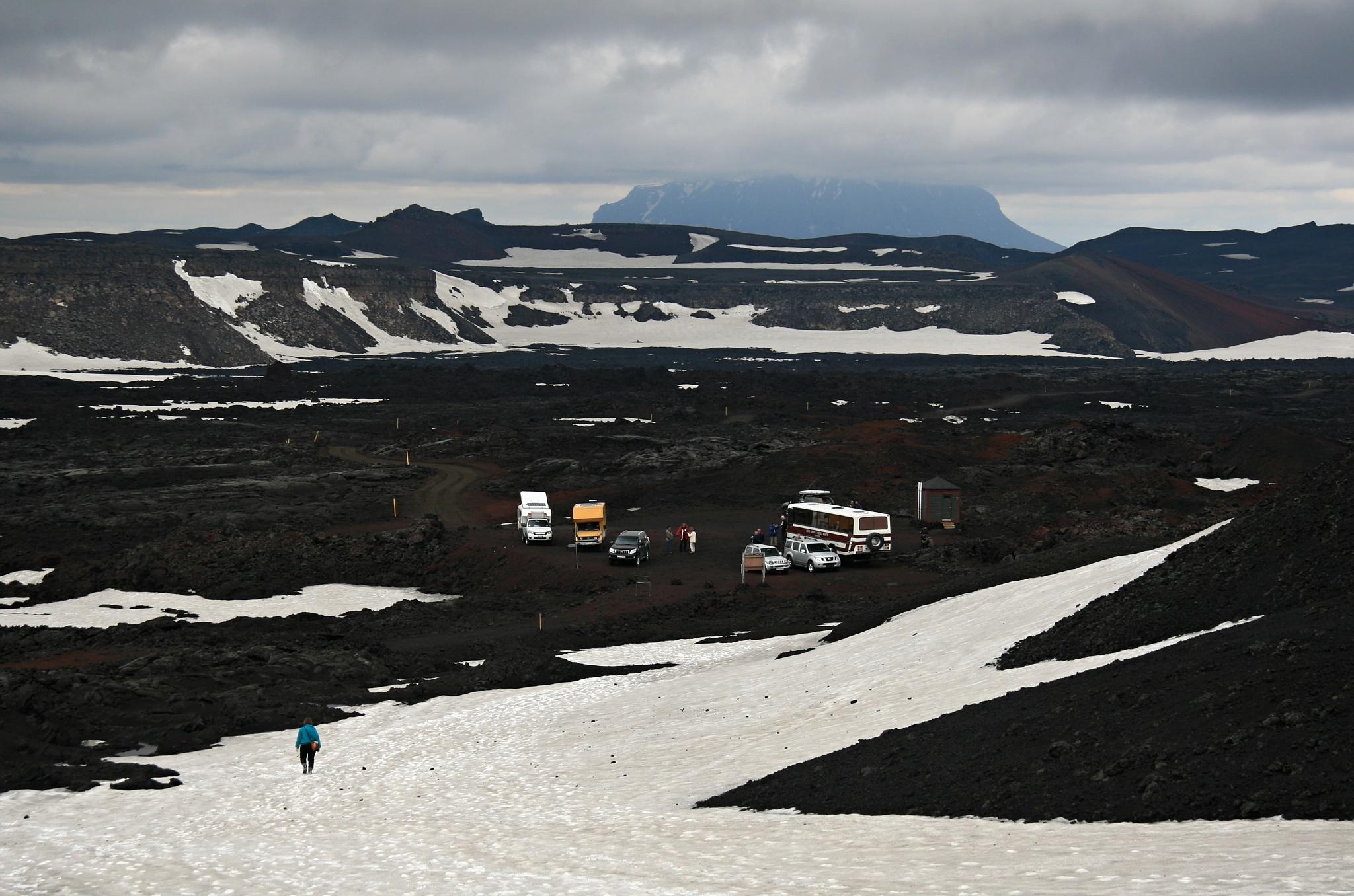 Pohled na parkoviště u sopky Askja