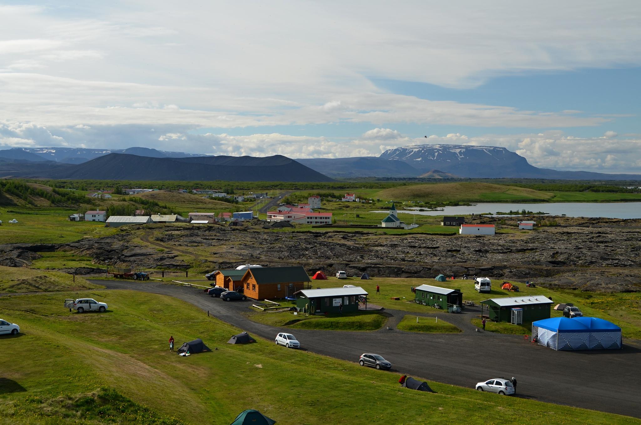 Nocleh v kempu Hlið v Reykjahliðu