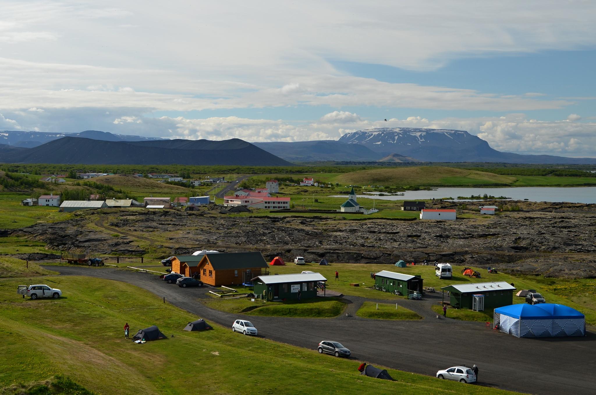 Ráno v kempu Hlið v Reykjahliðu