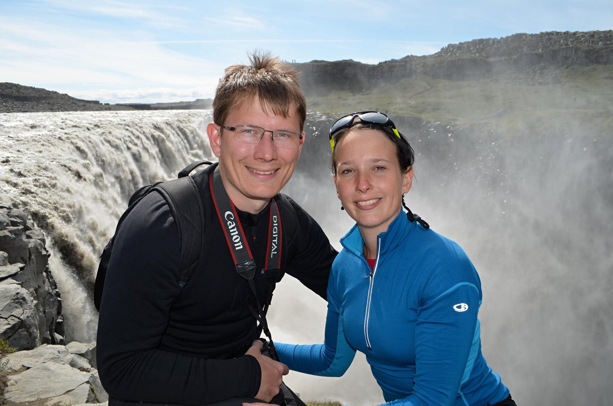 Společná fotka u vodopádu Dettifoss