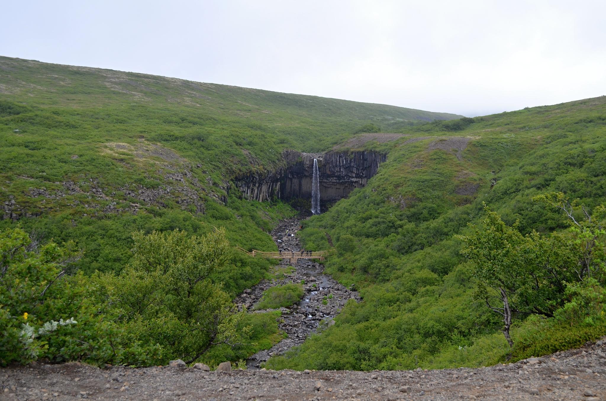 Celkový pohled na vodopád Svartifoss