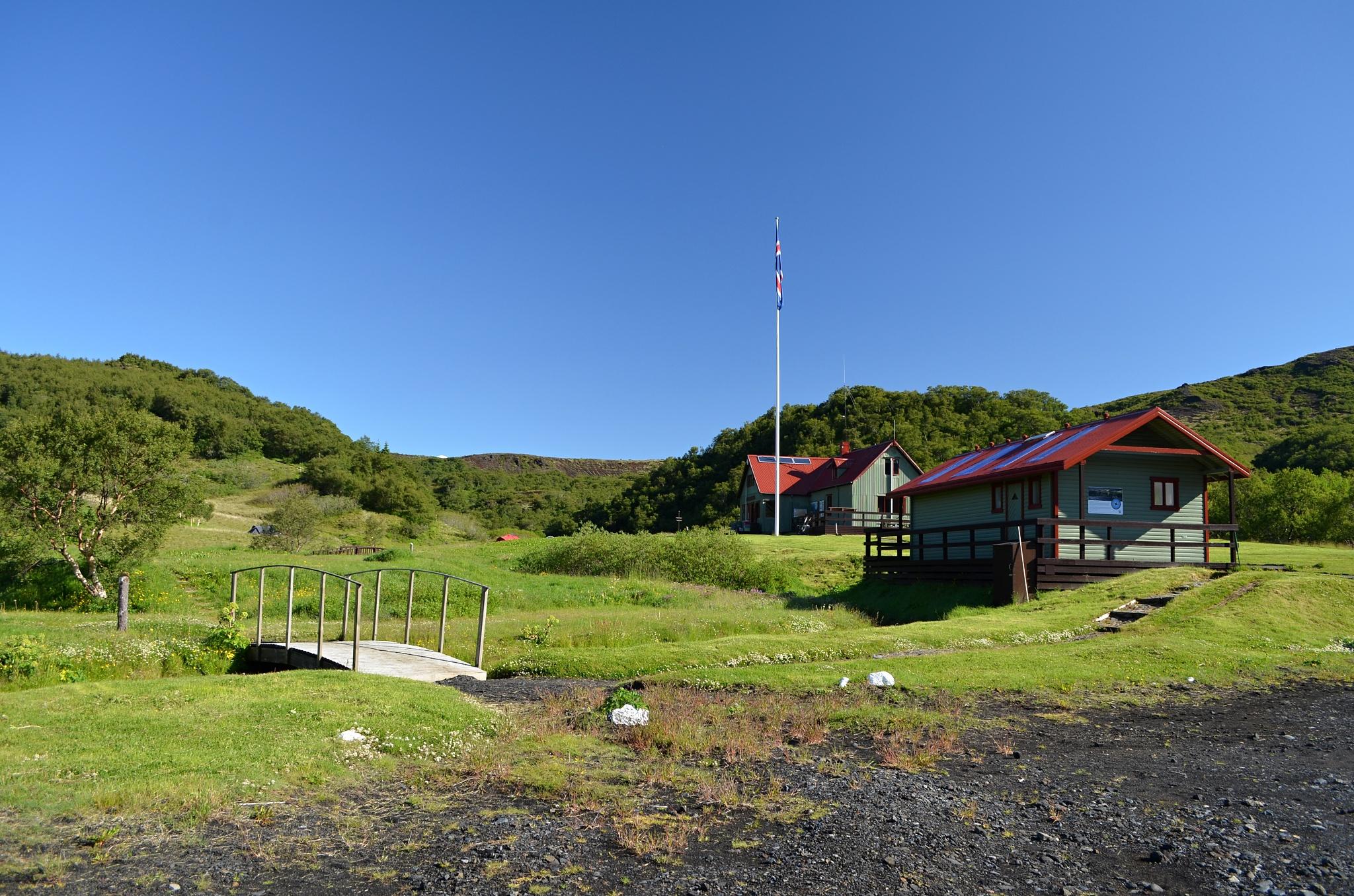 Chaty v Þórsmörku, kde jsme bydleli i my