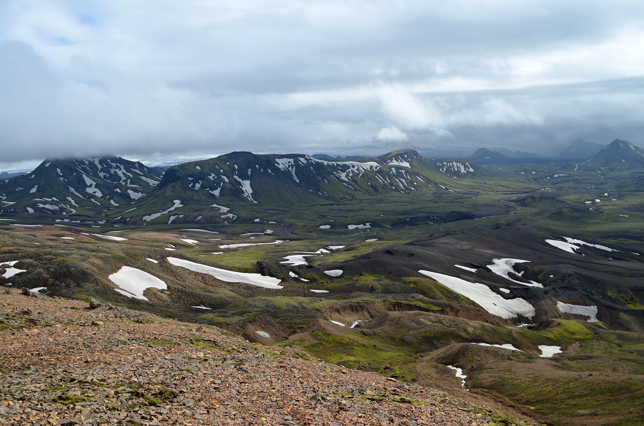 Z náhorní plošiny Jökultungur je krásný výhled do krajiny