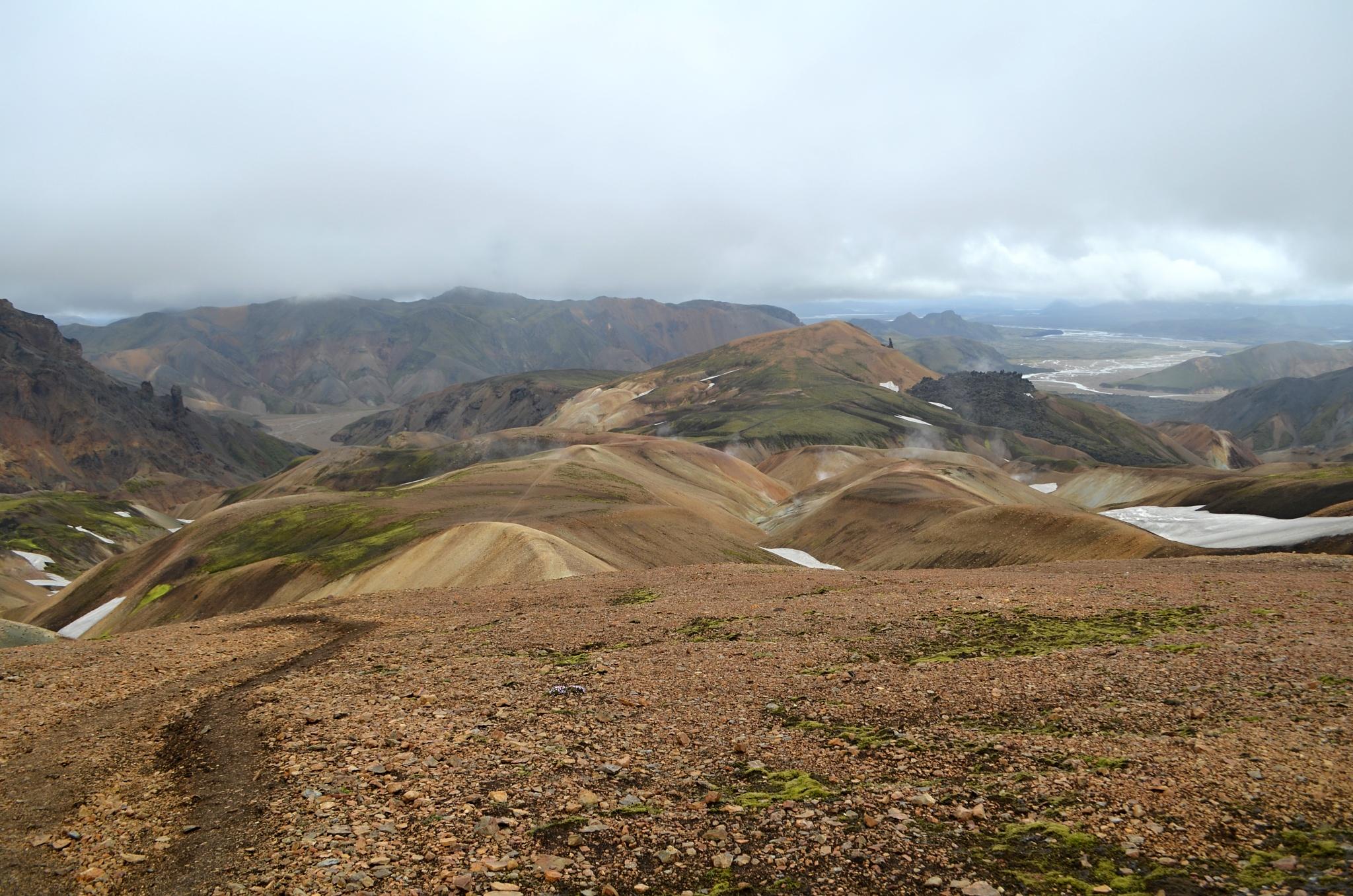 Duhové hory viděné ze stezky Laugavegur