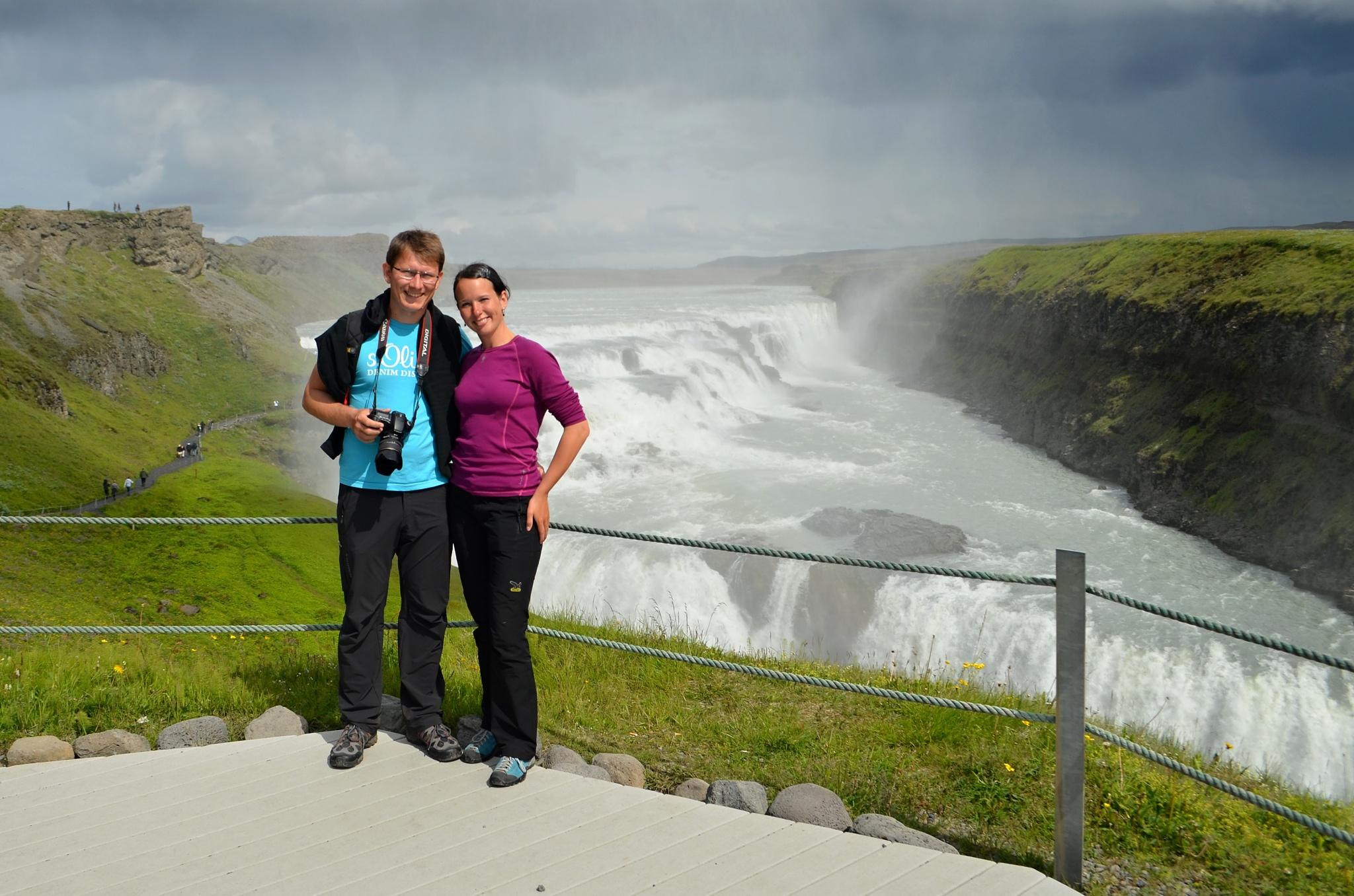 Společné foto u vodopádu Gullfoss