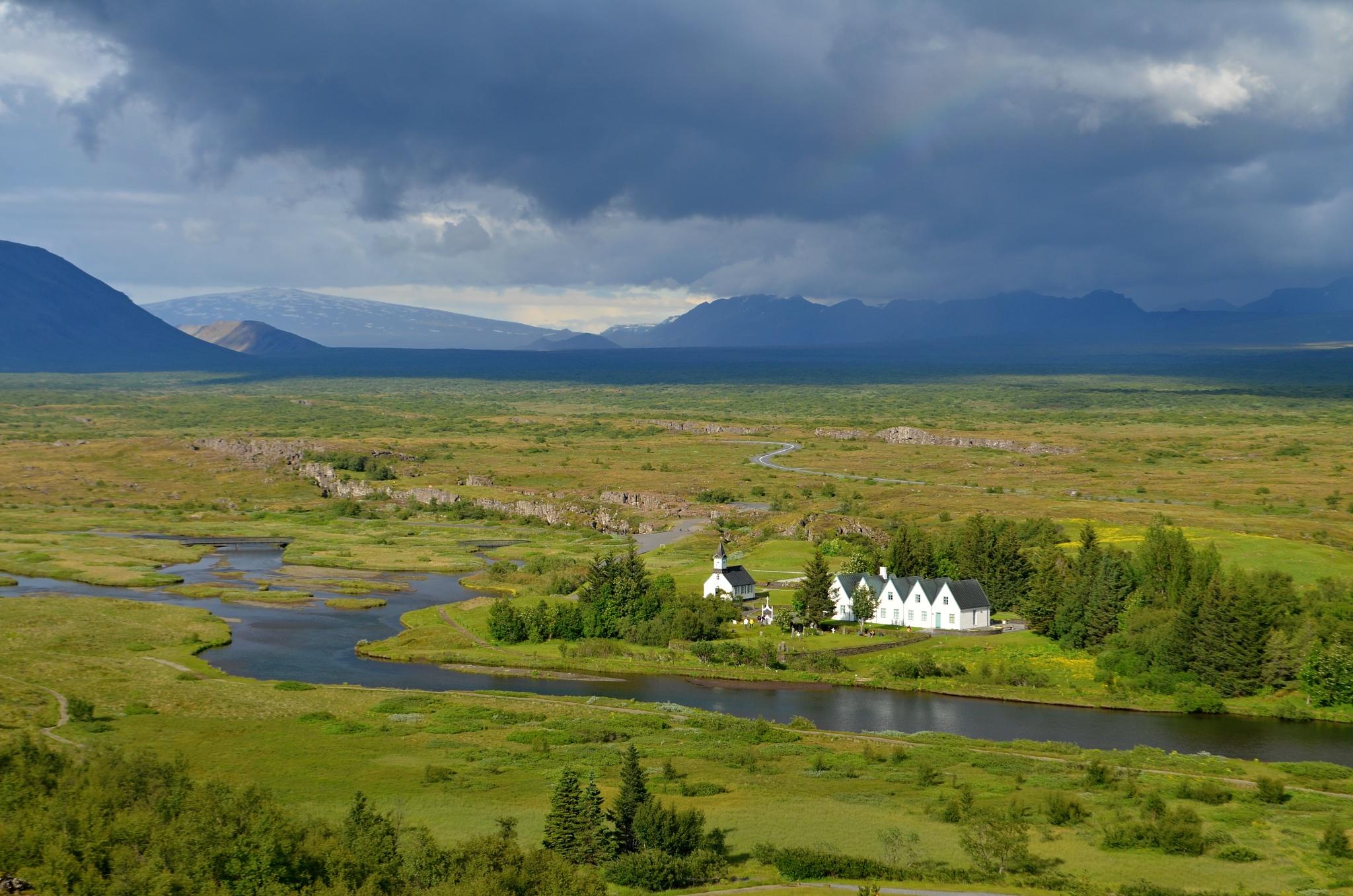 Pohled na kostel v Þingvelliru