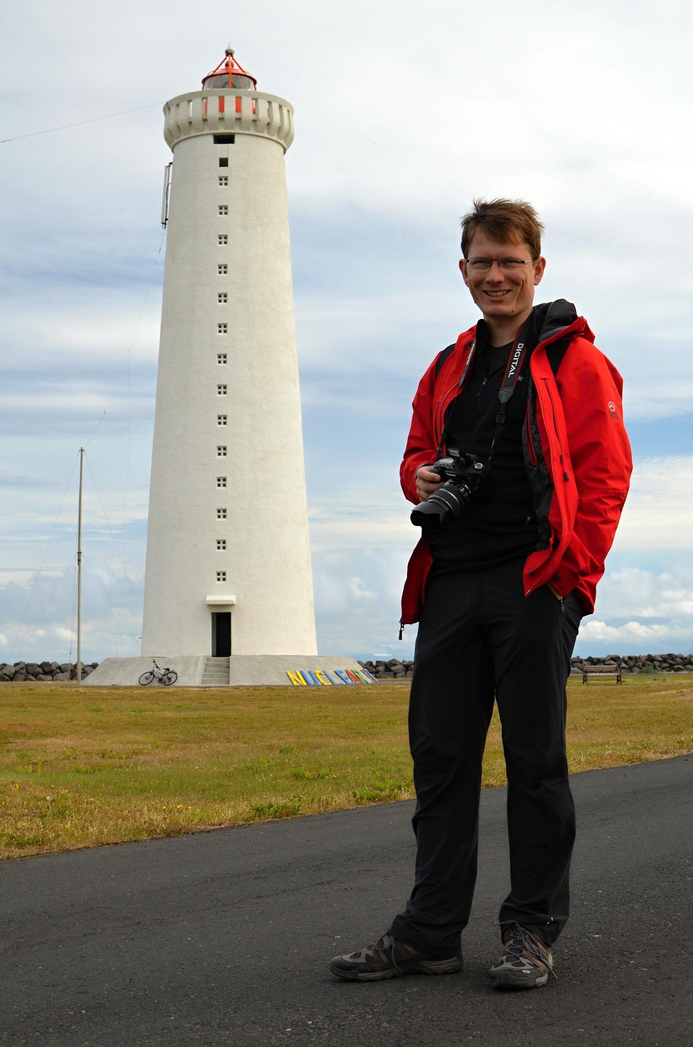Maják na poloostrově Garðskagi a já