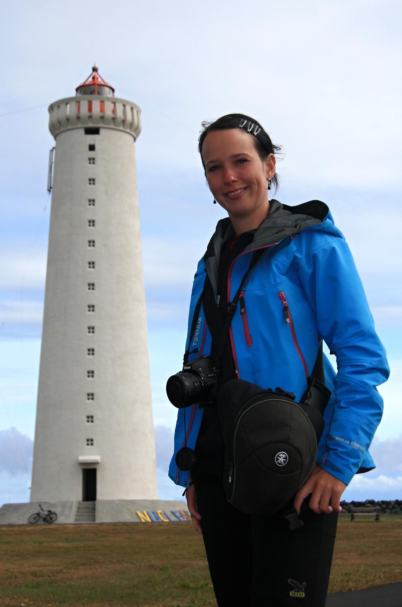 Hanka a maják na poloostrově Garðskagi