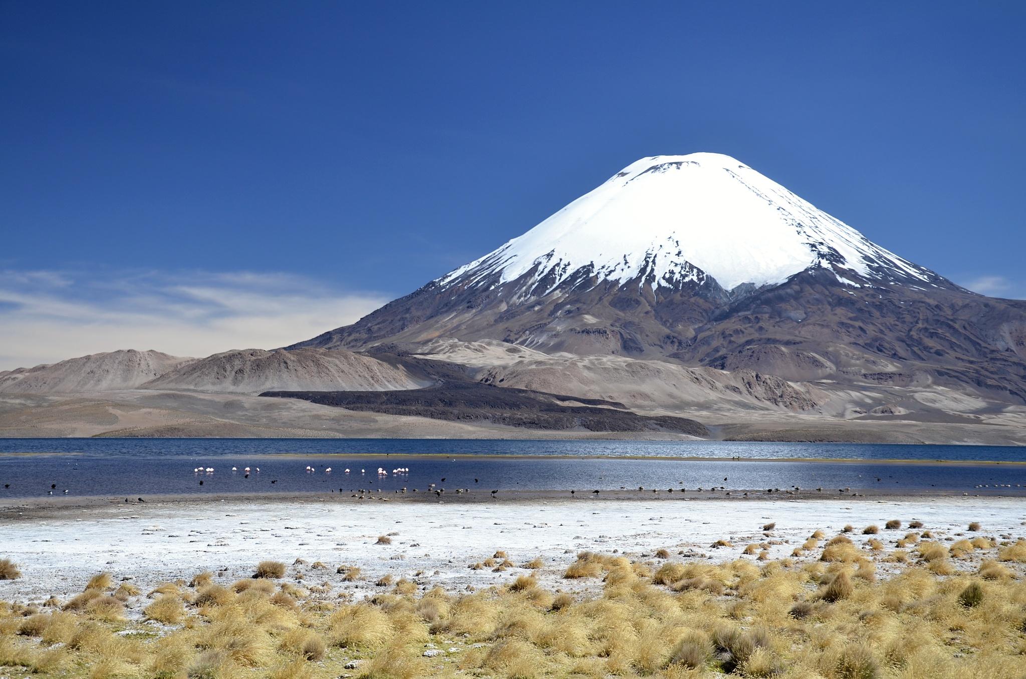 Sopka Parinacota a jezero Chungará