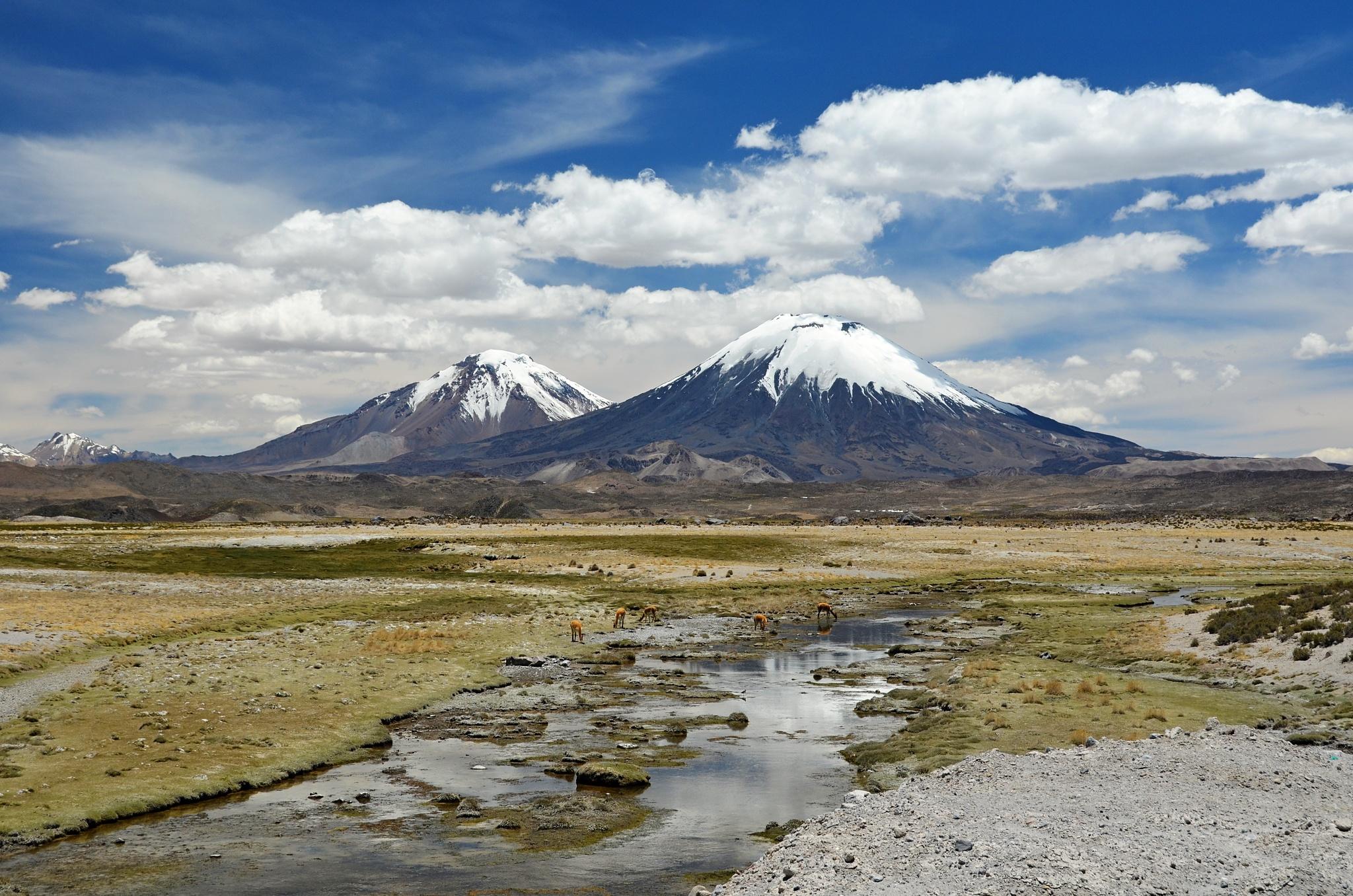 Sopky Parinacota a Pomerape