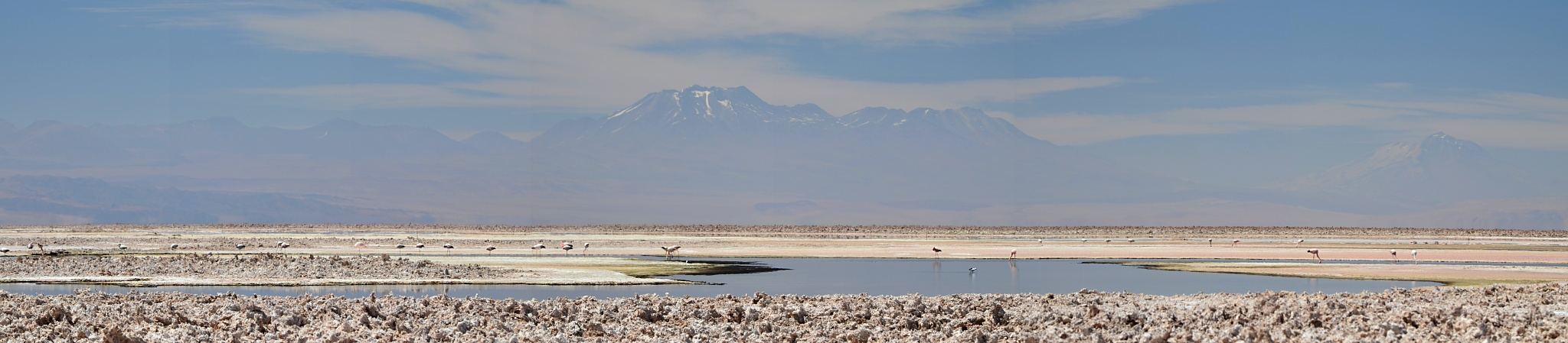 Panoramatický pohled na jezero Chaxa