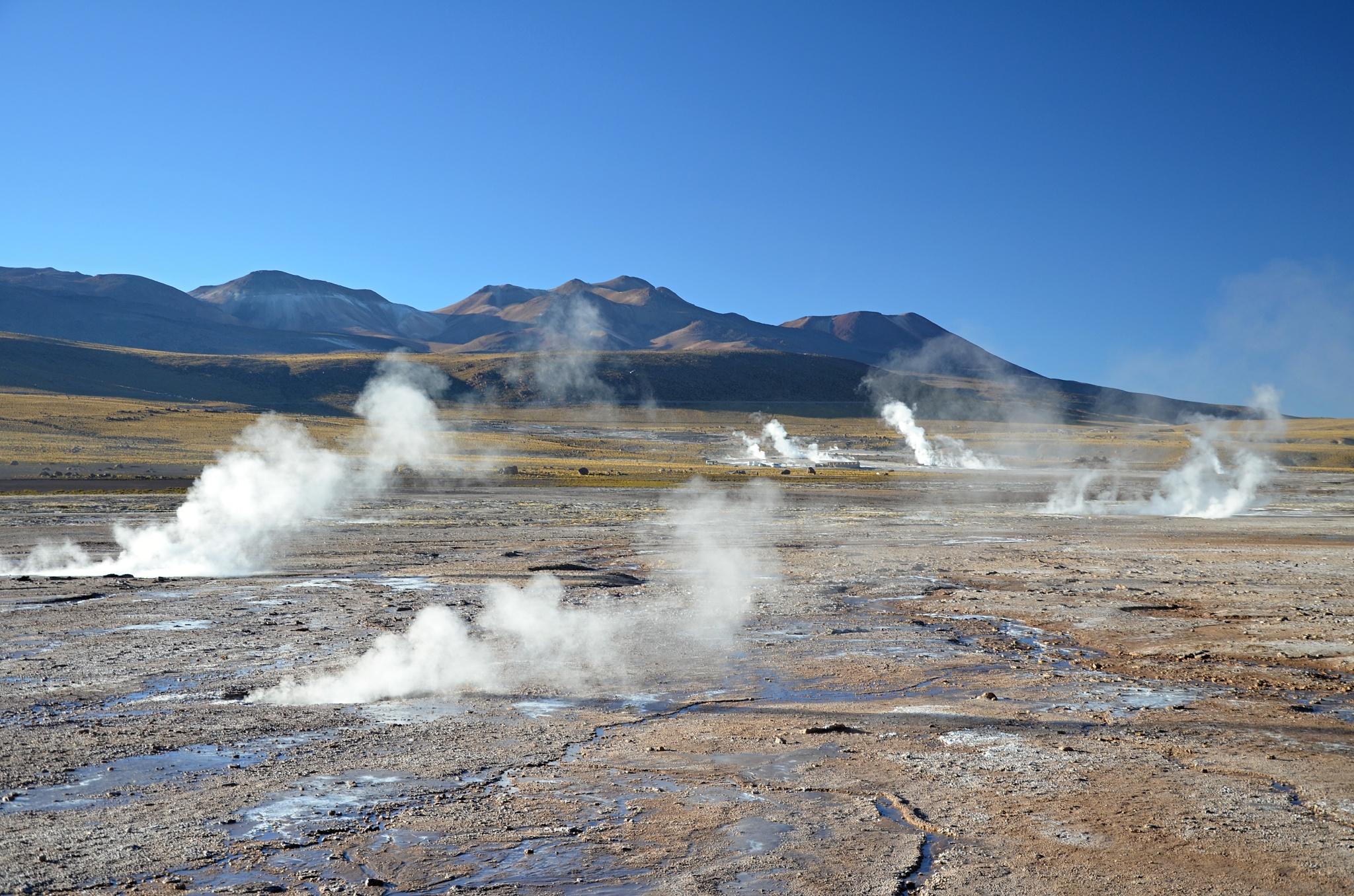 Celkový pohled na oblast gejzírů v El Tatio