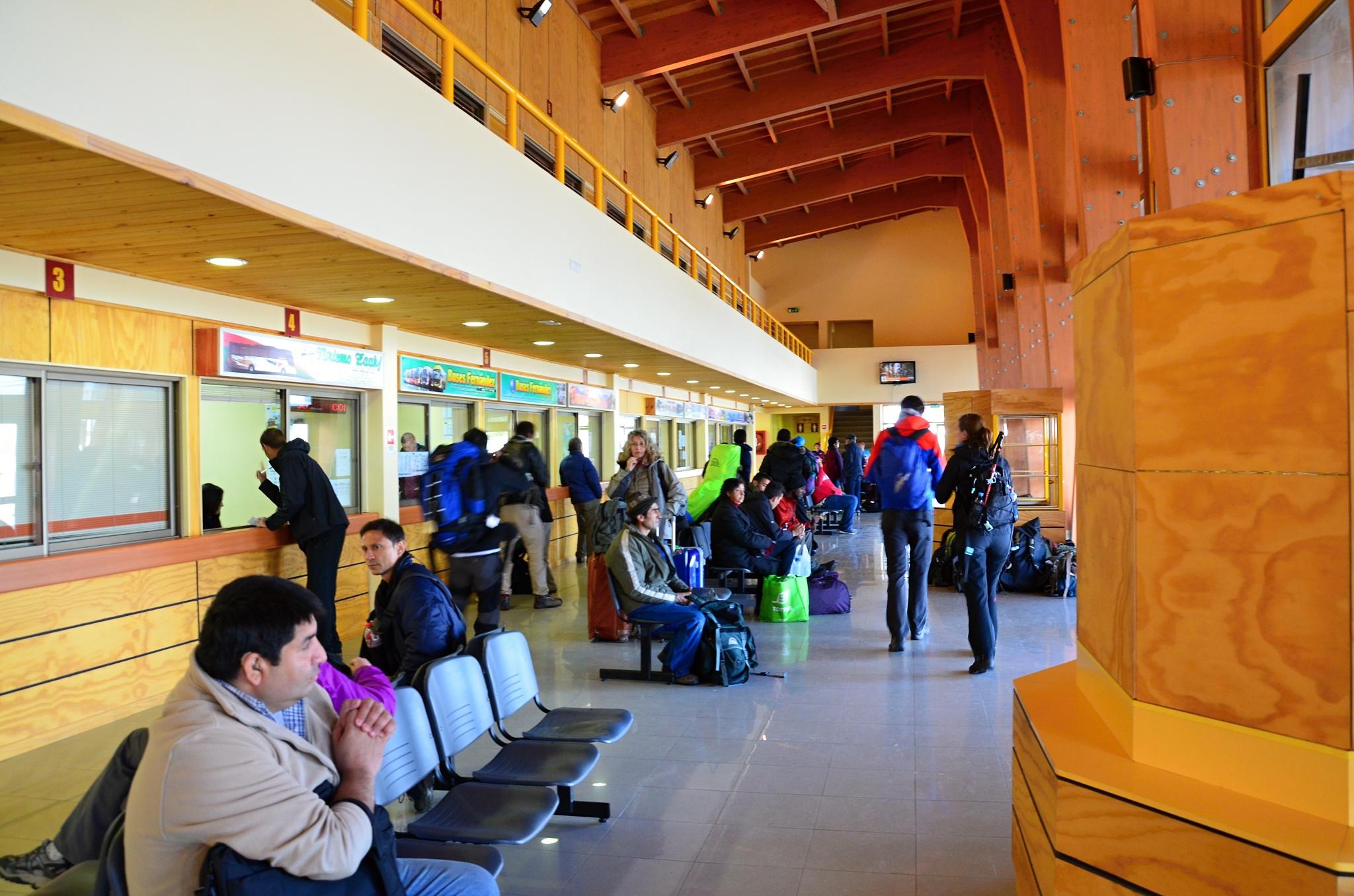 Nová budova autobusového nádraží v Puerto Natales