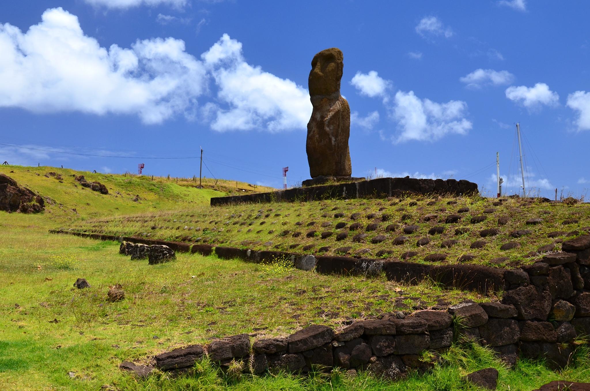 První Moai, kterou jsme na ostrově viděli