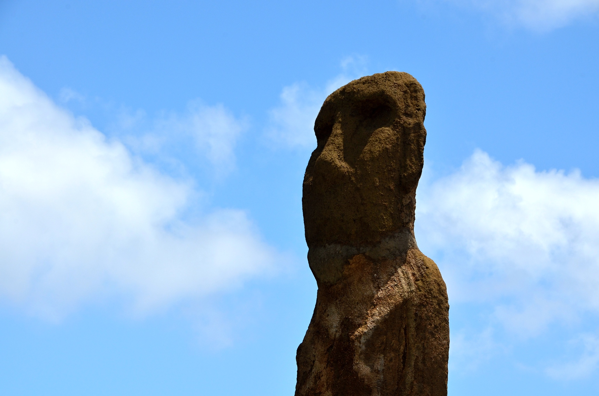 Detail na hlavu první Moai, kterou jsme viděli na ostrově