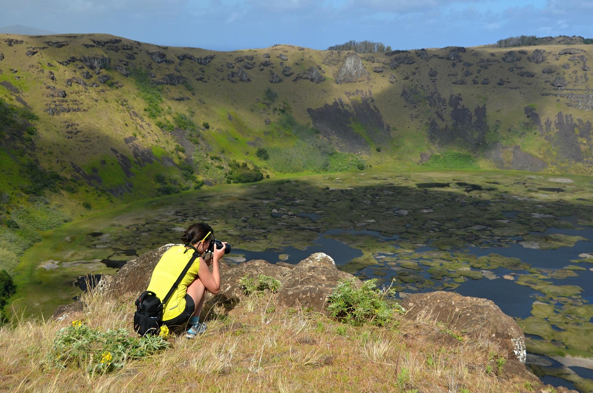 Fotíme si kráter sopky Rano Kau