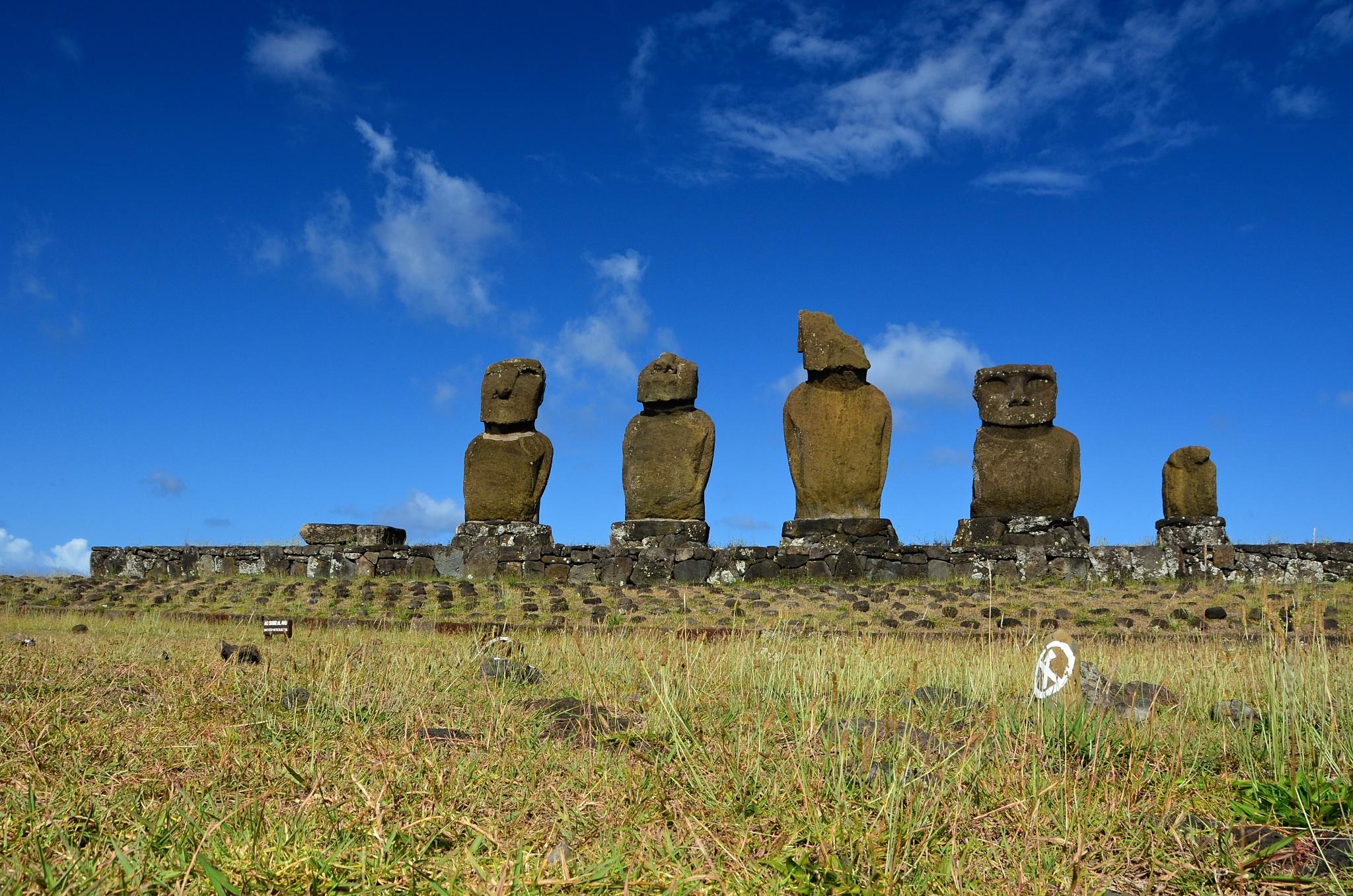 Pětice Moai na Ahu Vai Uri