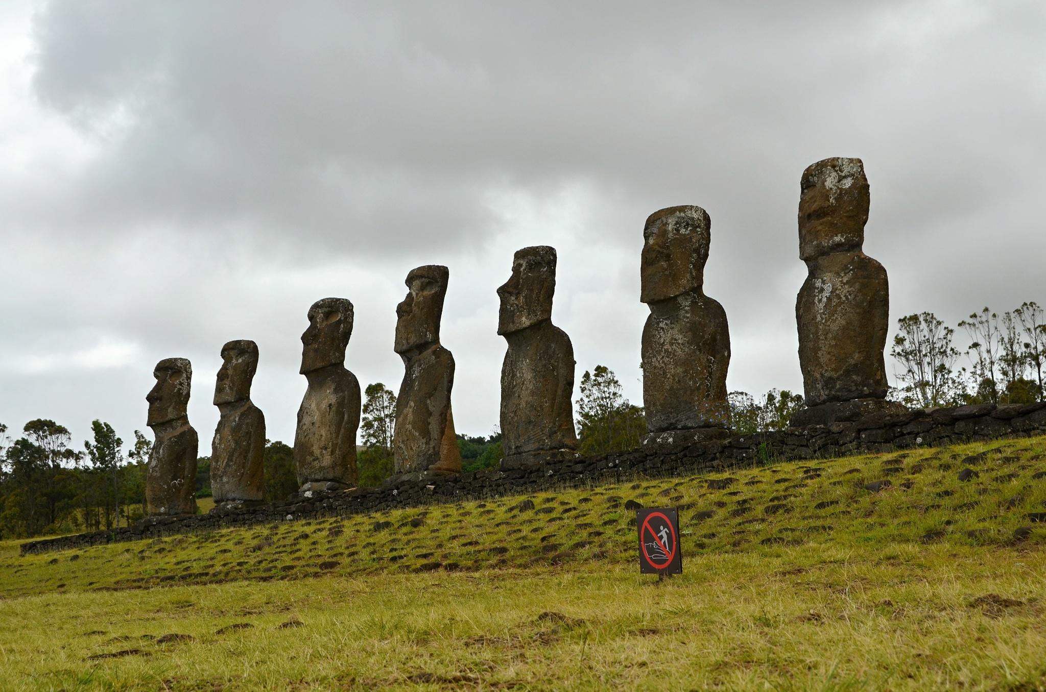 Sedm Moai na místě Ahu Akivi hledí k moři