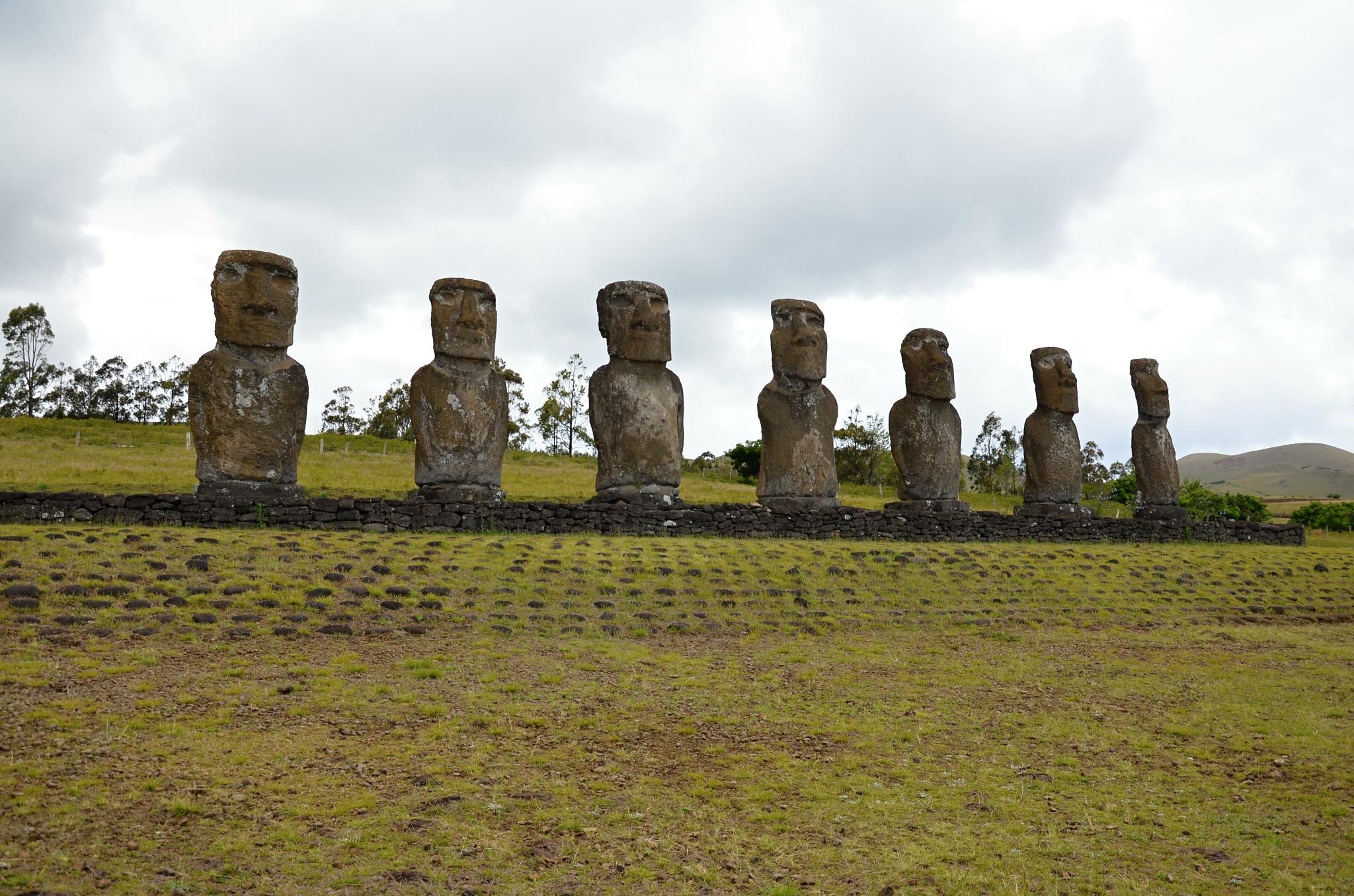 Sedm Moai představujících sedm průzkumníků