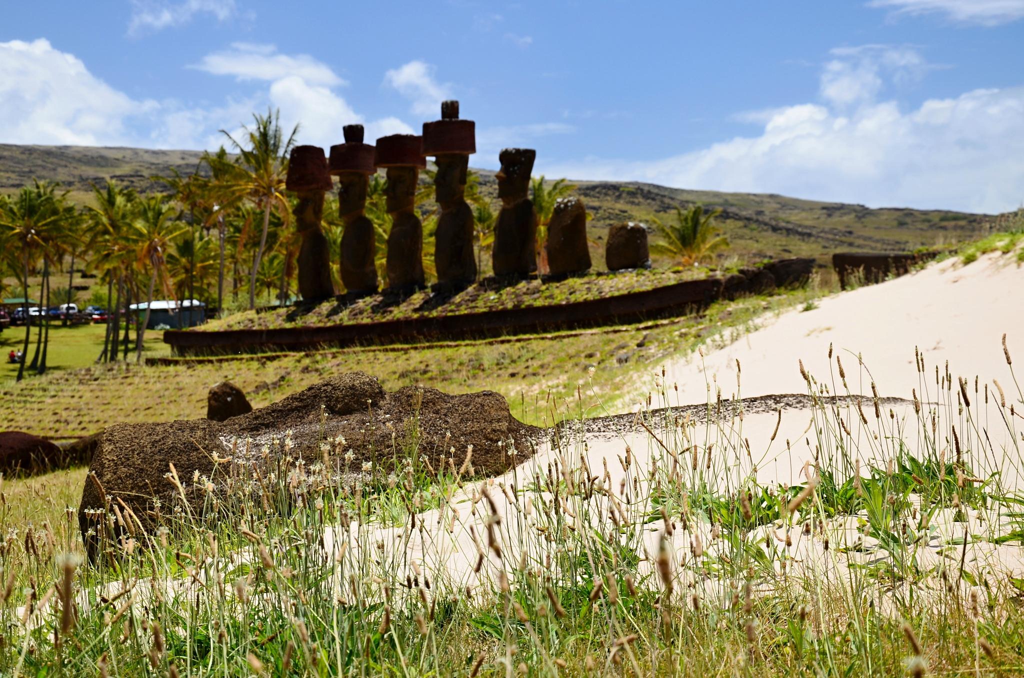 Ležící Moai, v pozadí plošina Ahu Nau Nau