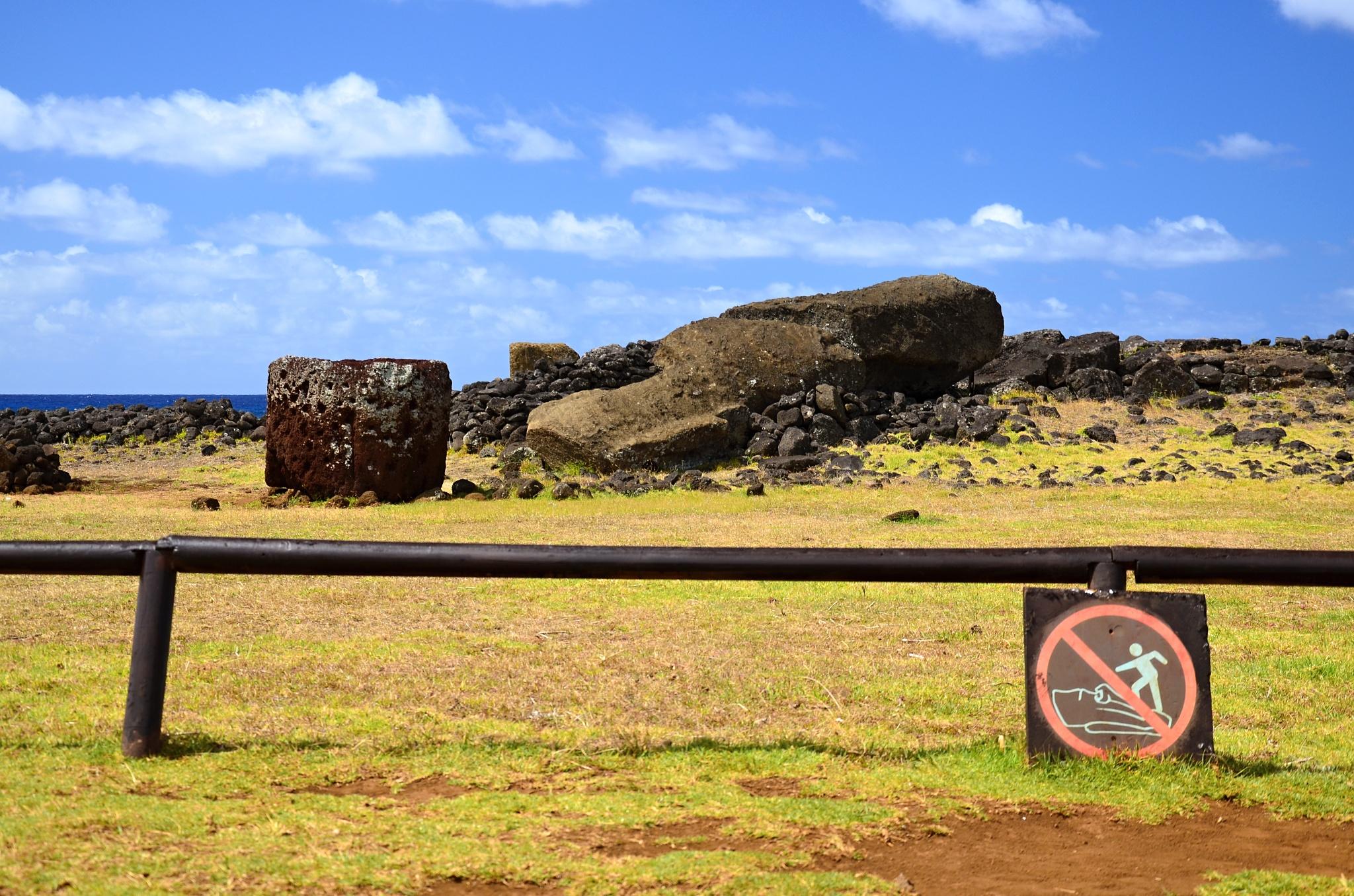 Plošina Ahu Te Pito Kura a největší Moai Parro