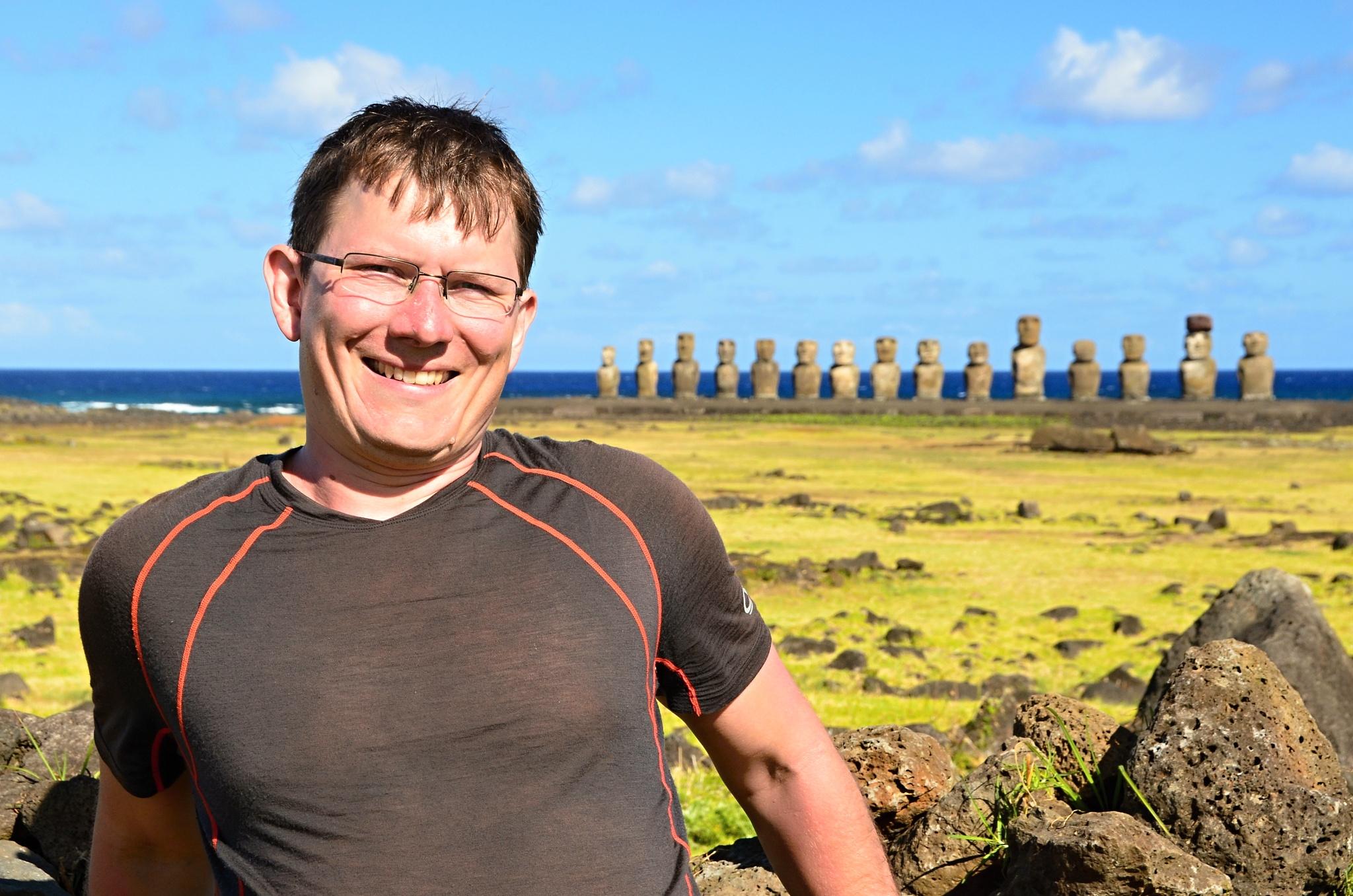 Já a za mnou 15 Moai na místě Ahu Tongariki