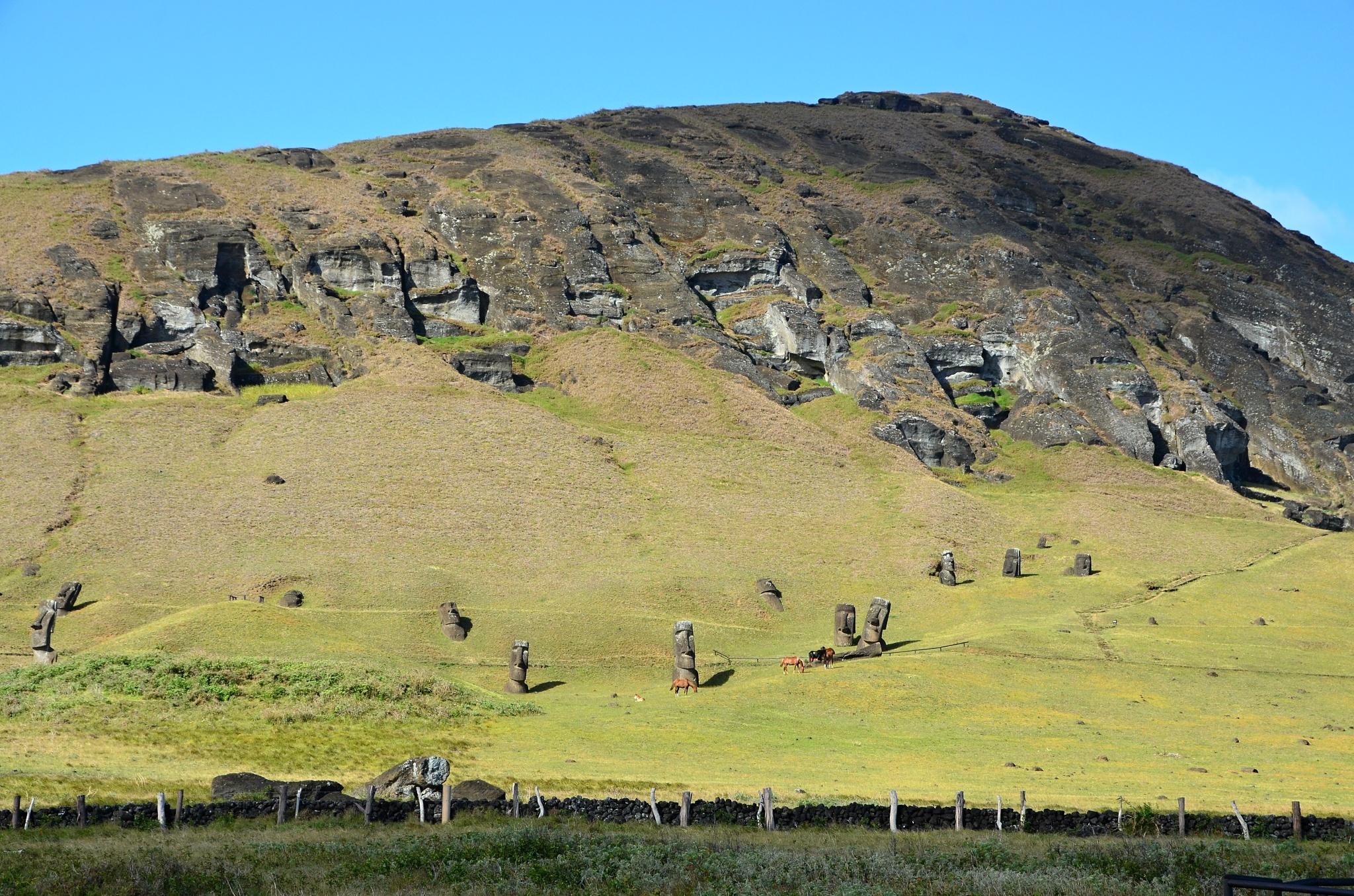 Moai na úpatí vulkánu Rano Raraku
