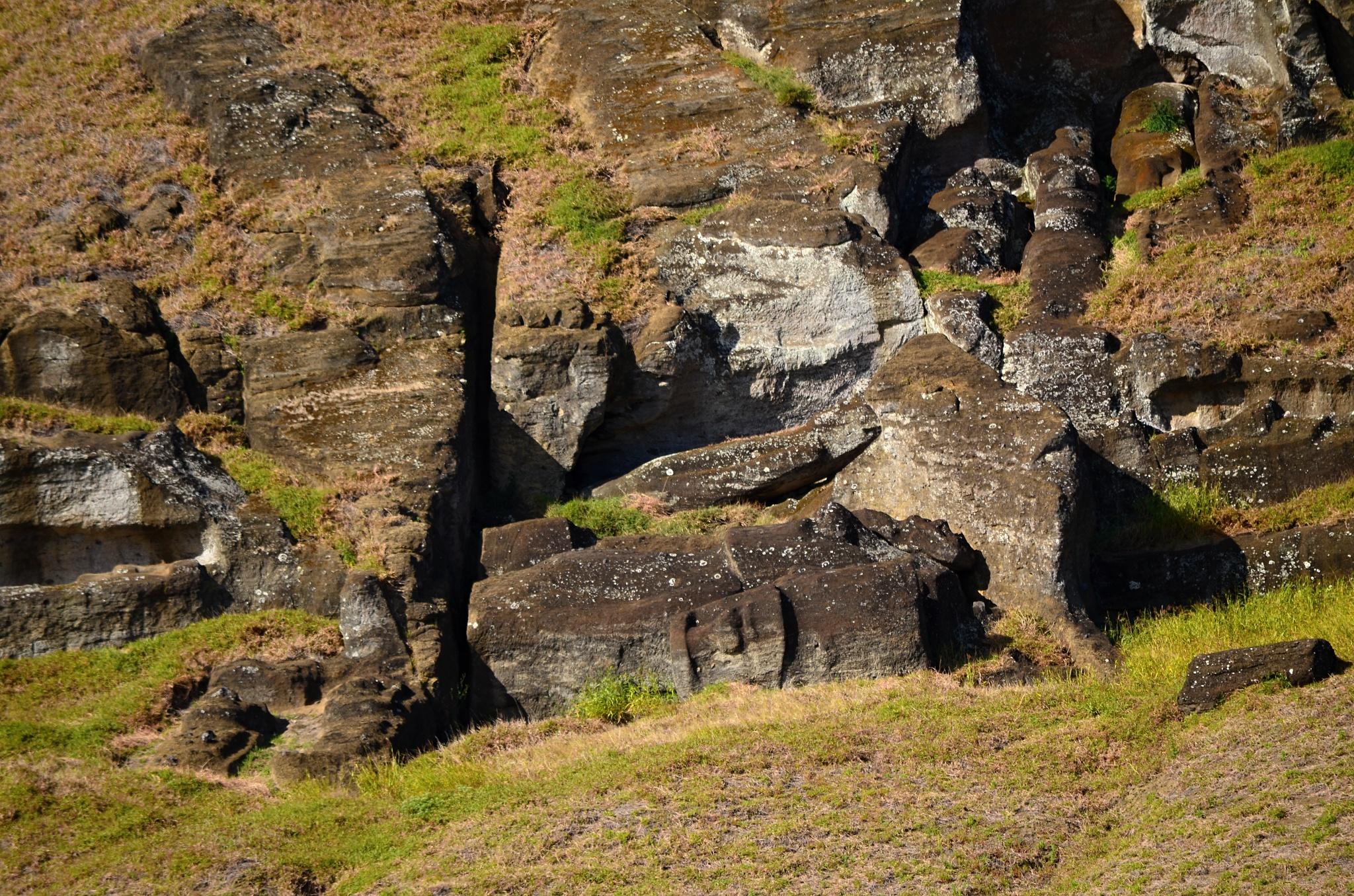 Nedodělané sochy Moai
