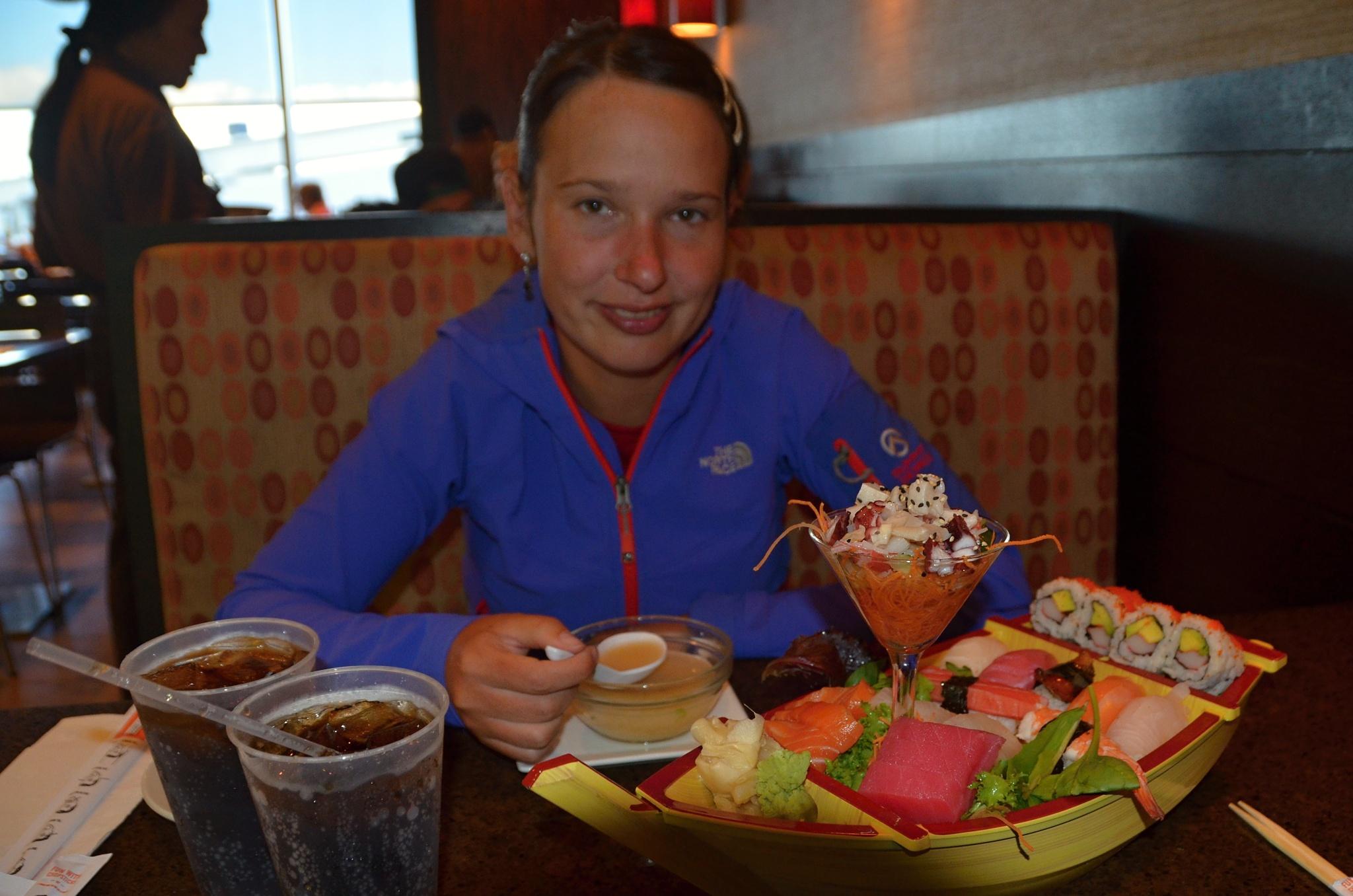 A druhé občerstvení na letišti v Miami. Máme toho plné zuby... Čekání, ne jídla:)