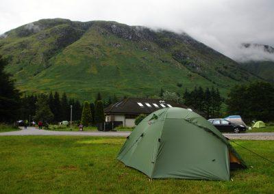 Náš stan a kopec Meall an t-Suidhe, Ben Nevis byl pro změnu v mlze