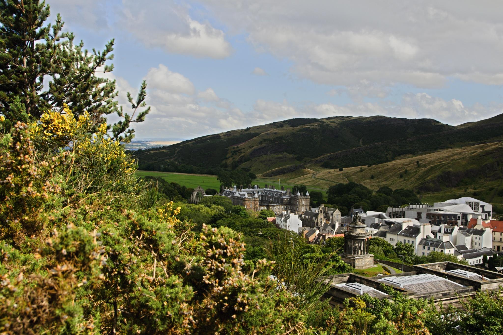 Výhled na město, v pozadí Holyrood Abbey