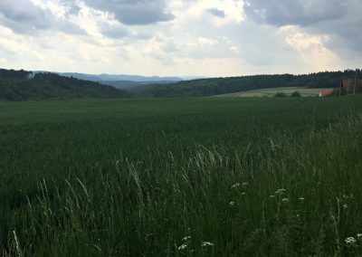 Výhled do krajiny při stoupání na Čepinu. Počasí se nám začíná kazit...