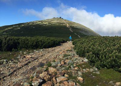 Ohlednutí za vrcholem letošní K100, za Sněžkou
